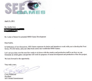Letter of Intent to Develop Frost, PULSE, and other Kailin Gow books into MMO Games See Games