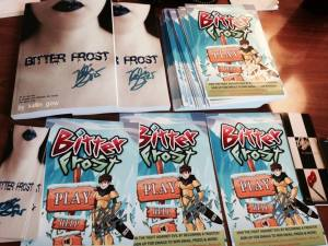 Signed Books and Bitter Frost Game Poster